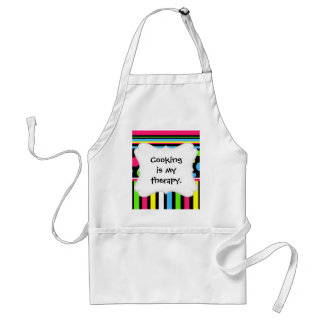 Colorful Neon Stripes Polka Dots Pink Blue Green Adult Apron