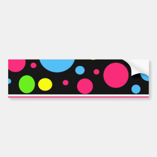 Colorful Neon Stripes Polka Dots Pink Blue Green Bumper Sticker