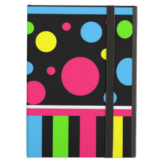 Colorful Neon Stripes Polka Dots Pink Blue Green Case For iPad Air