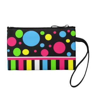 Colorful Neon Stripes Polka Dots Pink Blue Green Change Purse