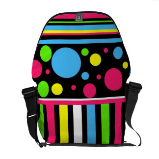 Colorful Neon Stripes Polka Dots Pink Blue Green Courier Bag