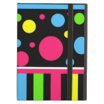 Colorful Neon Stripes Polka Dots Pink Blue Green iPad Folio Cases