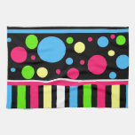 Colorful Neon Stripes Polka Dots Pink Blue Green Towel