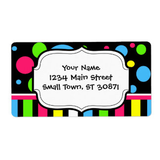 Colorful Neon Stripes Polka Dots Pink Blue Green Label