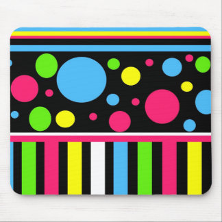 Colorful Neon Stripes Polka Dots Pink Blue Green Mouse Pad
