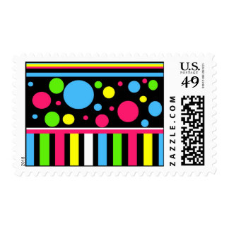 Colorful Neon Stripes Polka Dots Pink Blue Green Postage Stamps