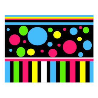 Colorful Neon Stripes Polka Dots Pink Blue Green Postcard