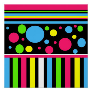 Colorful Neon Stripes Polka Dots Pink Blue Green Poster