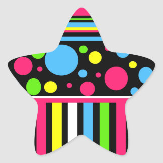 Colorful Neon Stripes Polka Dots Pink Blue Green Star Sticker