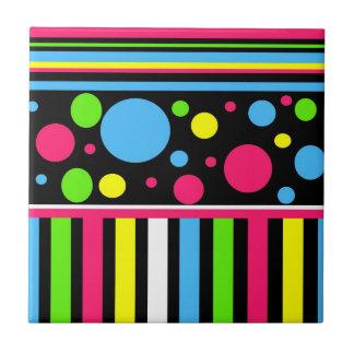 Colorful Neon Stripes Polka Dots Pink Blue Green Tile