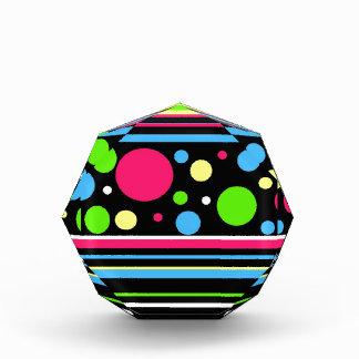 Colorful Neon Stripes Polka Dots Pink Teal Lime Award