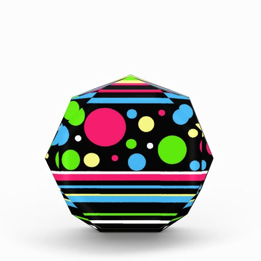 Colorful Neon Stripes Polka Dots Pink Teal Lime Acrylic Award