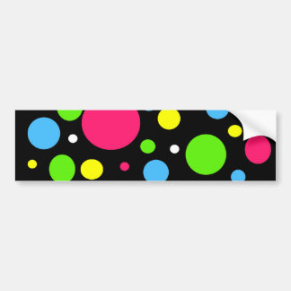 Colorful Neon Stripes Polka Dots Pink Teal Lime Bumper Sticker