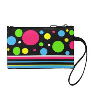 Colorful Neon Stripes Polka Dots Pink Teal Lime Change Purse