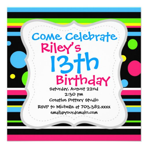 Colorful Neon Stripes Polka Dots Pink Teal Lime Invitations