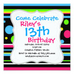"Colorful Neon Stripes Polka Dots Pink Teal Lime 5.25"" Square Invitation Card"