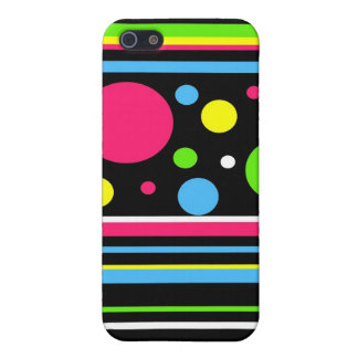 Colorful Neon Stripes Polka Dots Pink Teal Lime Cases For iPhone 5