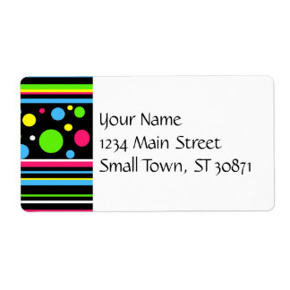 Colorful Neon Stripes Polka Dots Pink Teal Lime Label
