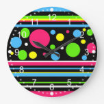 Colorful Neon Stripes Polka Dots Pink Teal Lime Large Clock