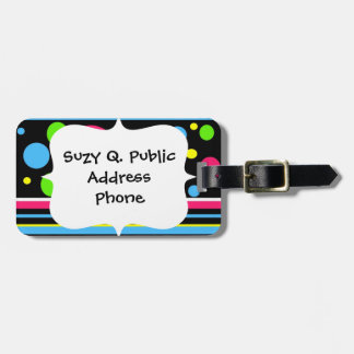 Colorful Neon Stripes Polka Dots Pink Teal Lime Luggage Tag