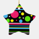 Colorful Neon Stripes Polka Dots Pink Teal Lime Christmas Ornaments