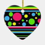 Colorful Neon Stripes Polka Dots Pink Teal Lime Christmas Ornament
