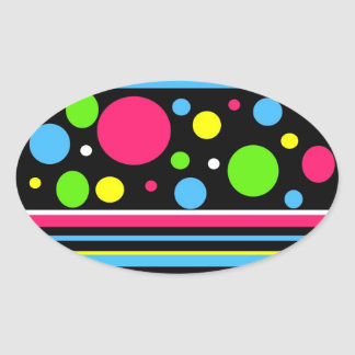 Colorful Neon Stripes Polka Dots Pink Teal Lime Oval Sticker