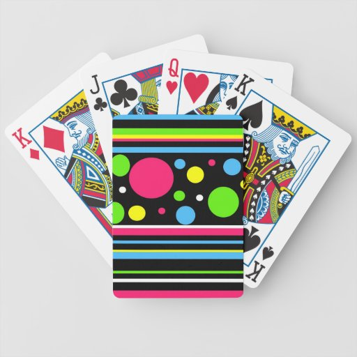 Colorful Neon Stripes Polka Dots Pink Teal Lime Bicycle Poker Cards