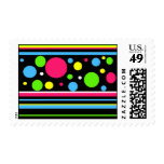 Colorful Neon Stripes Polka Dots Pink Teal Lime Postage
