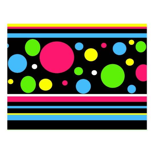 Colorful Neon Stripes Polka Dots Pink Teal Lime Postcard