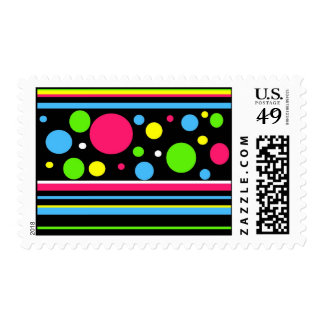 Colorful Neon Stripes Polka Dots Pink Teal Lime Stamps