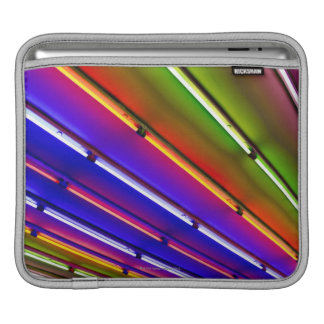 Colorful neon tubes at shop entrance iPad sleeve