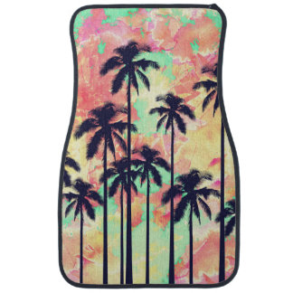 Colorful Neon Watercolor with Black Palm Trees Car Mat