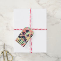 Colorful Neon Watercolor with Black Palm Trees Gift Tags