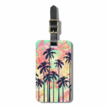 Colorful Neon Watercolor with Black Palm Trees Luggage Tag