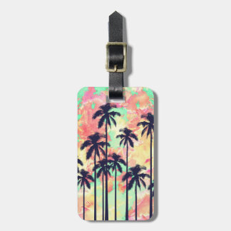 Colorful Neon Watercolor with Black Palm Trees Tag For Luggage