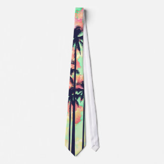 Colorful Neon Watercolor with Black Palm Trees Tie