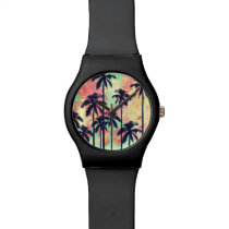 Colorful Neon Watercolor with Black Palm Trees Wrist Watch