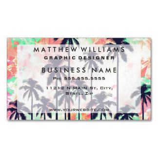 Colorful Neon Watercolor with Black Palm Trees Magnetic Business Cards (Pack Of 25)