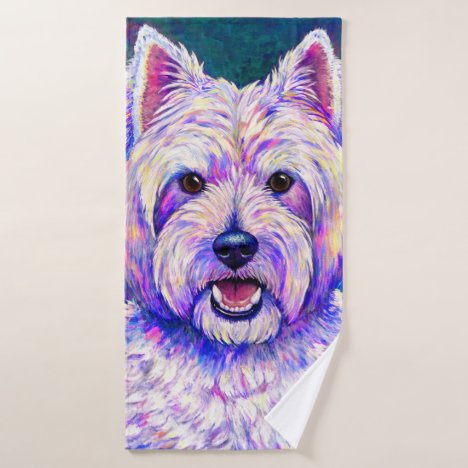 Colorful Neon Westie Terrier Dog Bath Towel Set