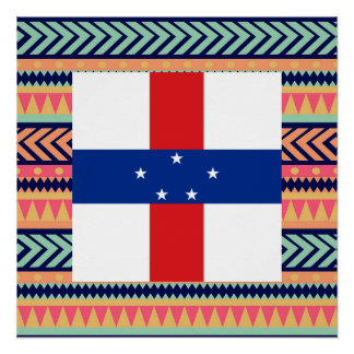 Colorful Netherlands Antilles Flag Box Poster