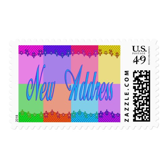 Colorful New Address Postage