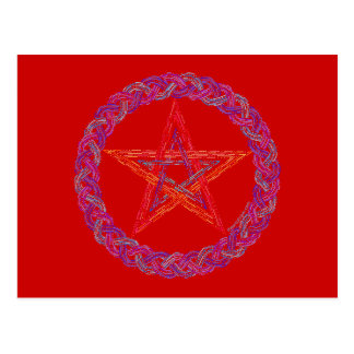 Colorful New Age Wiccan Pentagram Postcard