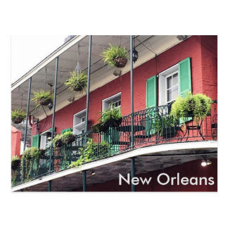 Colorful New Orleans French Quarter Balcony Postcard