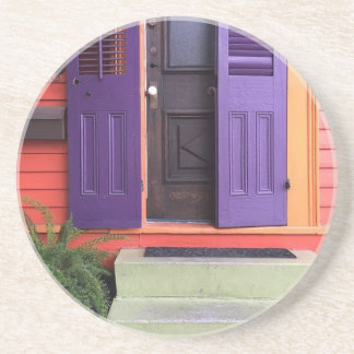 Colorful New Orleans Marigny House Sandstone Coaster