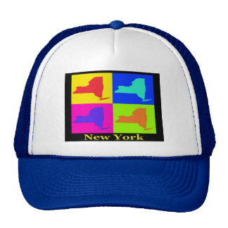Colorful New York State Pop Art Map Trucker Hat