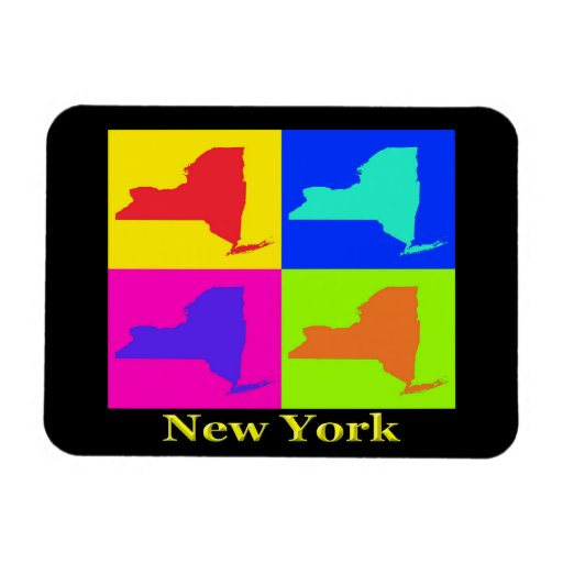 Colorful New York State Pop Art Map Rectangle Magnet
