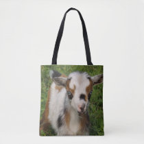Colorful Nigerian Dwarf Goat Kid with Blue Eyes Tote Bag