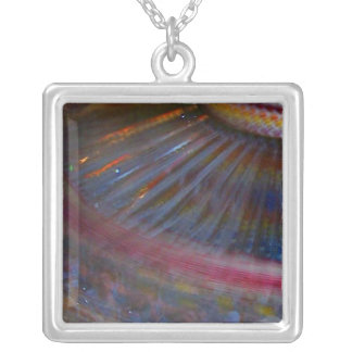 Colorful night fair ride action spinning shot square pendant necklace