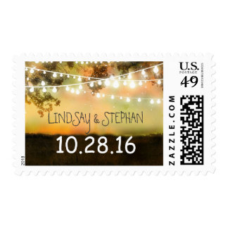 colorful night lights rustic wedding postage stamp